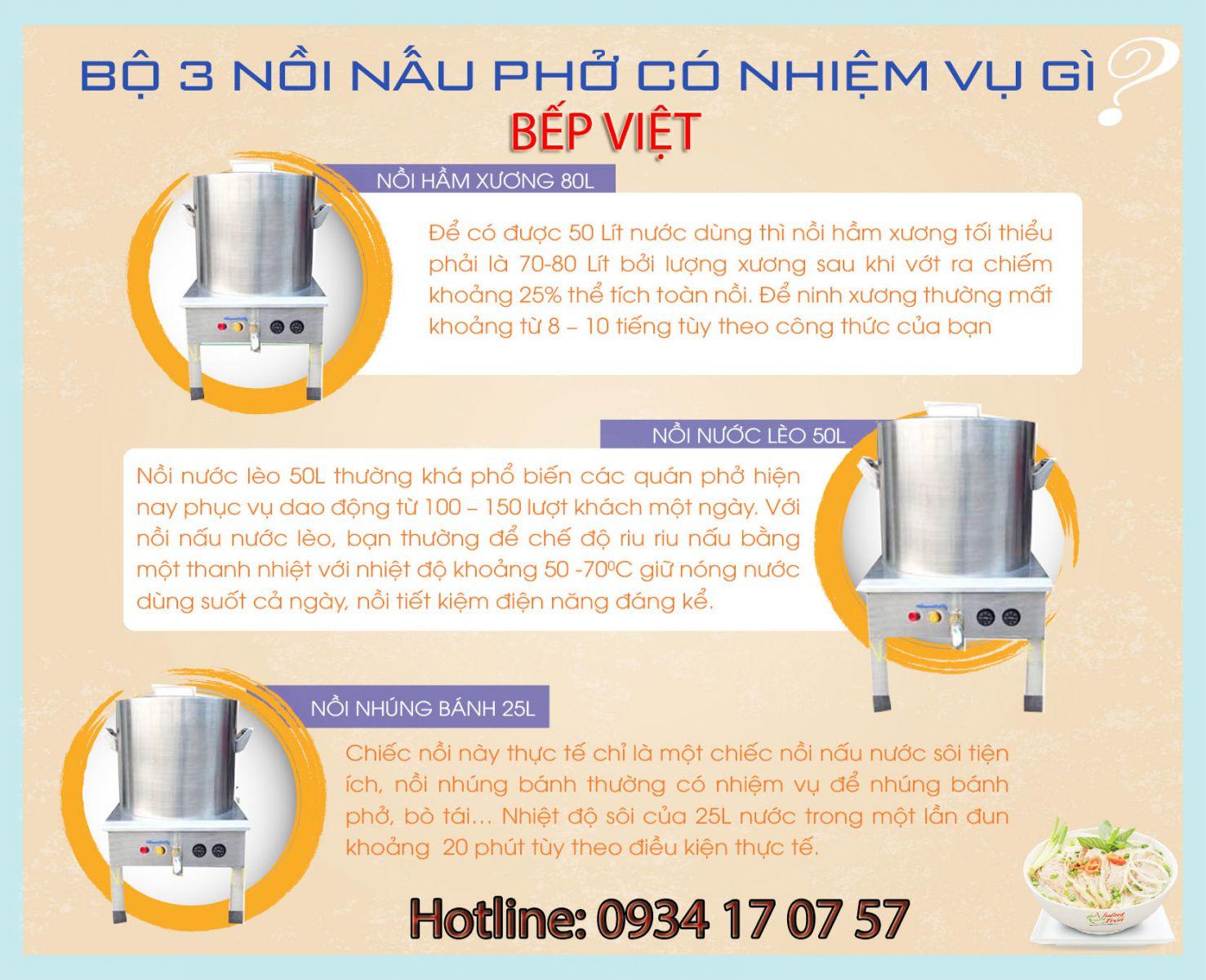 Bộ 3 nồi nấu phở bằng điện 30L-50L-80L
